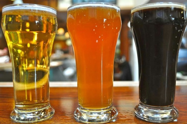 Trio of delicious freshly brewed beer.